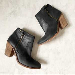Lucky Brand Eugenia Black Leather Heeled Booties
